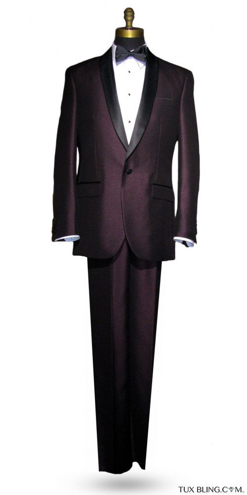 Plum Shawl Collar Tuxedo - 3 Piece