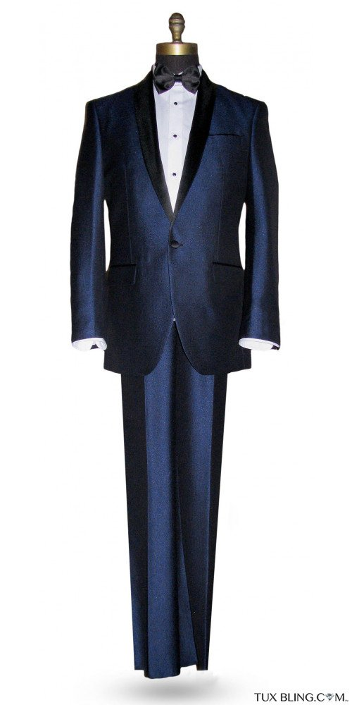 Ink Blue Shawl Collar Tuxedo with Pants Ensemble