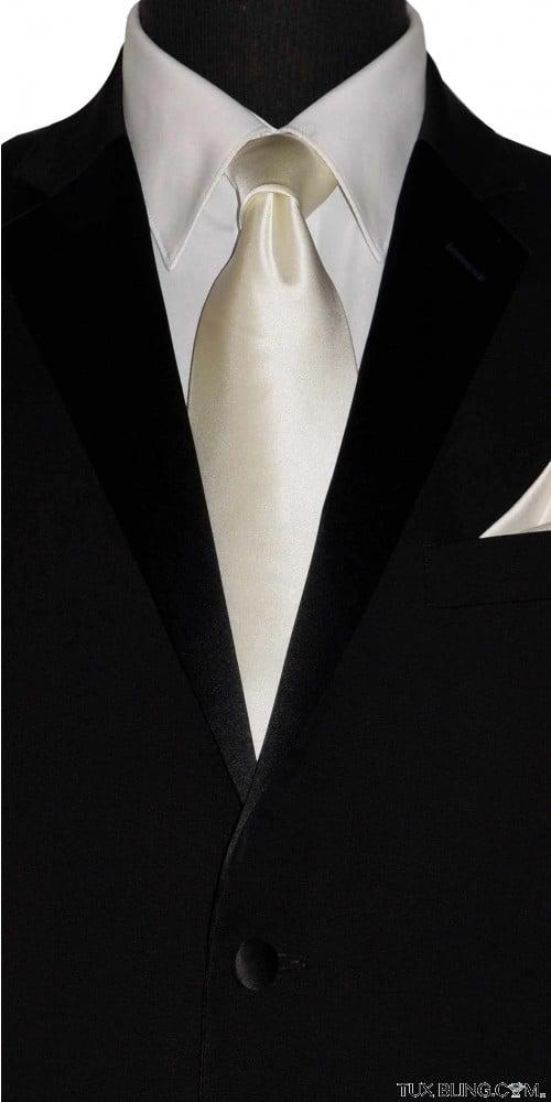 ivory off-white silk men's long dress tie at TuxBling.com