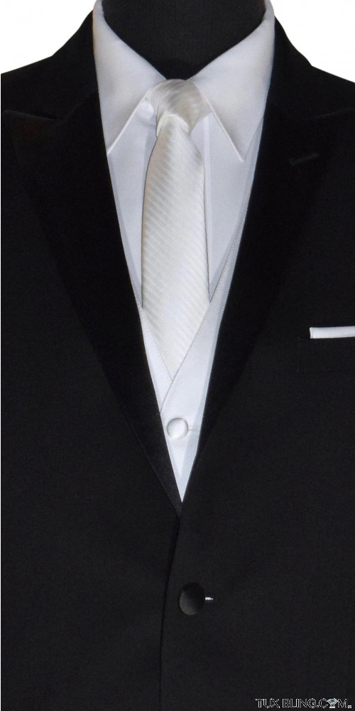 men's long white wedding tie