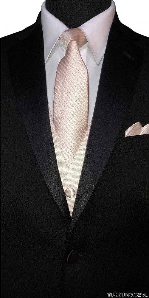 men's nude long tie and nude vest to match nude color bridal at Tuxbling.com