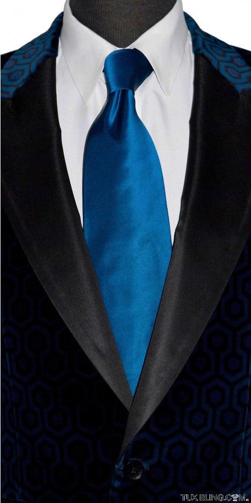sapphire blue silk long tie for men