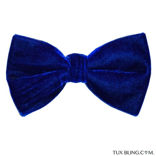 BOWTIE ROYAL BLUE VELVET, PRE-TIED