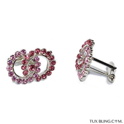 Pink and Rose Crystal Cufflinks