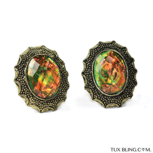 Green Amber Bigger Bling Cufflinks