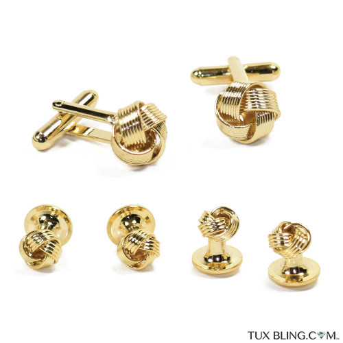 Gold Love Knot Cufflinks and Stud Set