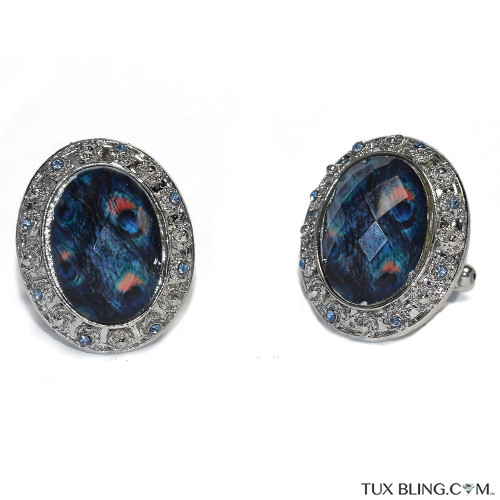 Peacock Blue Bigger Bling Cufflinks