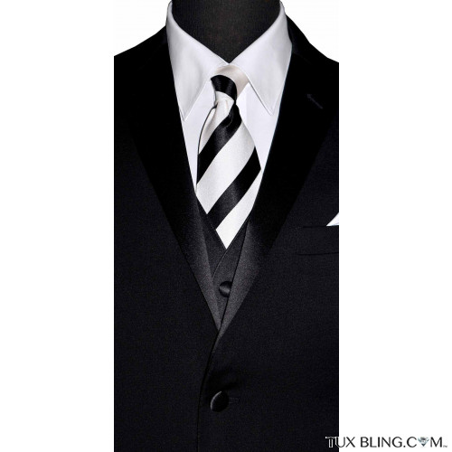 BLACK WHITE STRIPED SILK WOVEN DRESS TIE