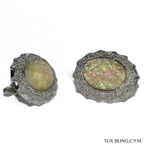 MOTHER OF PEARLIZED BLING CUFFLINKS