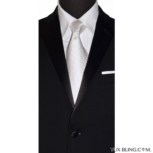 WHITE WOVEN SILK DRESS TIE