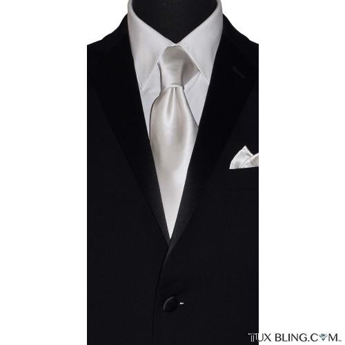 WHITE SILK DRESS TIE