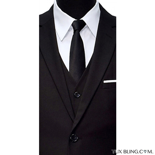 long black satin skinny men's tie with 3 piece black suit