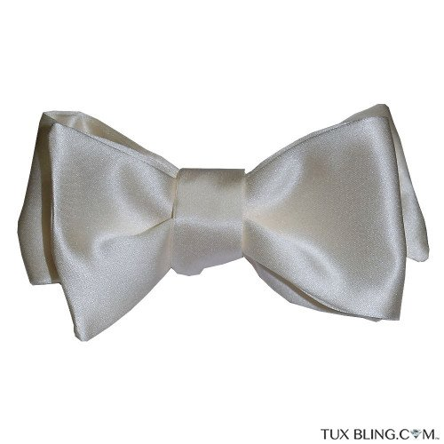 Ivory Satin Bowtie-Tie Yourself