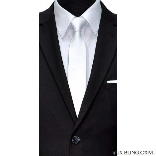 white satin skinny men's tie at TuxBling.com