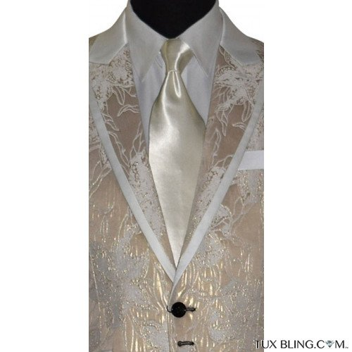 ivory brocade tuxedo with long ivory dress tie at Tuxbling.com