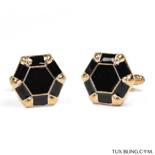 BLACK WITH GOLD FINISH CUFFLINKS