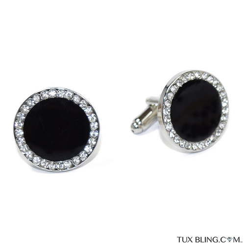 BLACK CUFFLINKS WITH CRYSTALS
