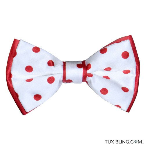 WHITE BOWTIE WITH RED POLKA DOT. PRE-TIED