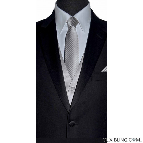 light gray long dress tie and gray vest by San Miguel Formals
