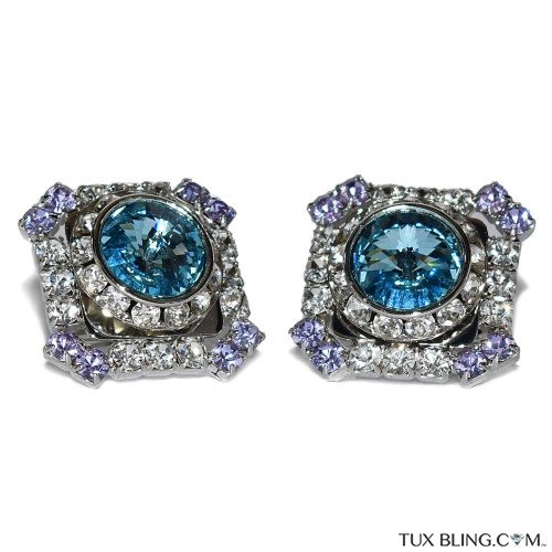 BIG CUFFLINKS TOPAZ COLOR-SILVER