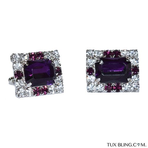 AMETHYST COLOR WITH CRYSTAL CUFFLINKS