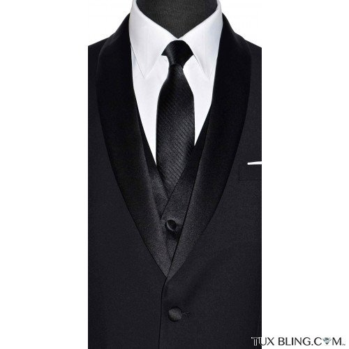 black long tie with stripe by San Miguel Formals