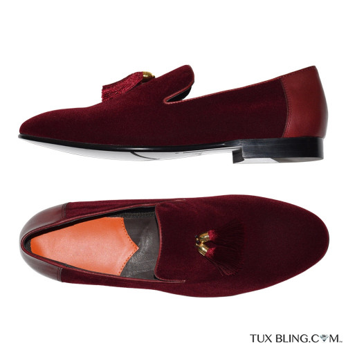 BURGUNDY-WINE VELVET SLIP-ON TUXEDO SHOES
