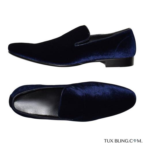 SAPPHIRE BLUE VELVET SLIP-ON MENS PUMP