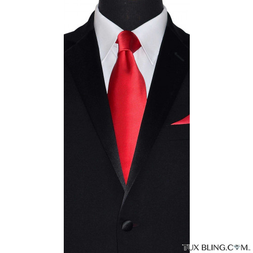 red silk long dress tie for men