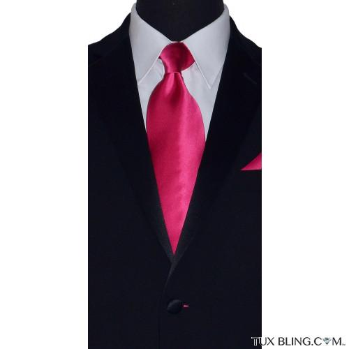hot pink men's tie with hot pink pocket handkerchief