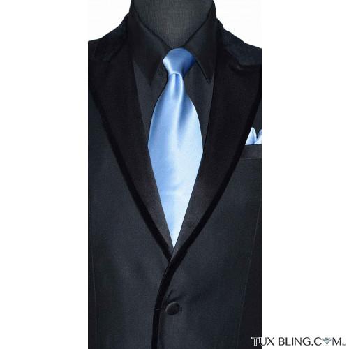 men's light blue silk long dress tie  with black tuxedo