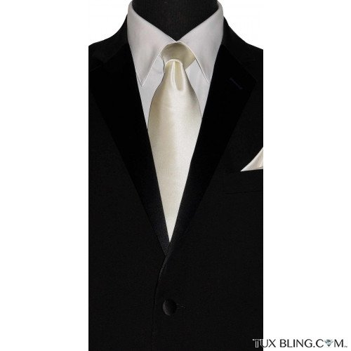 ivory off-white silk men's long dress tie at TuxBling.com