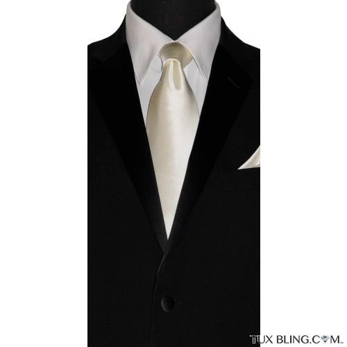 ivory off-white silk men's long necktie at TuxBling.com