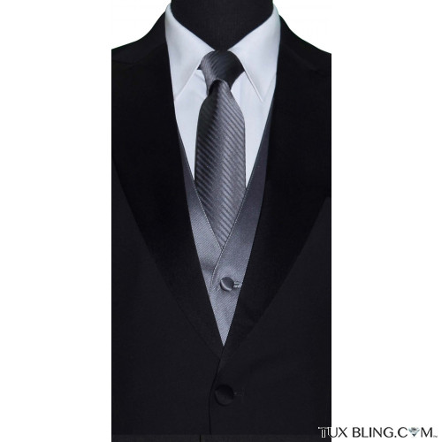charcoal dress tie with charcoal vest by San Miguel Formals