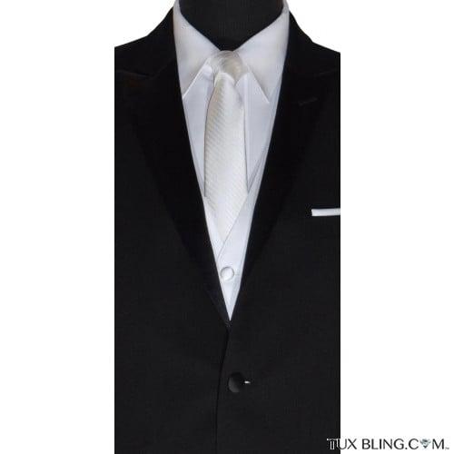 men's long white wedding tie
