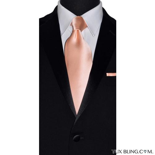 peach long tie for men with peach pocket handkerchief