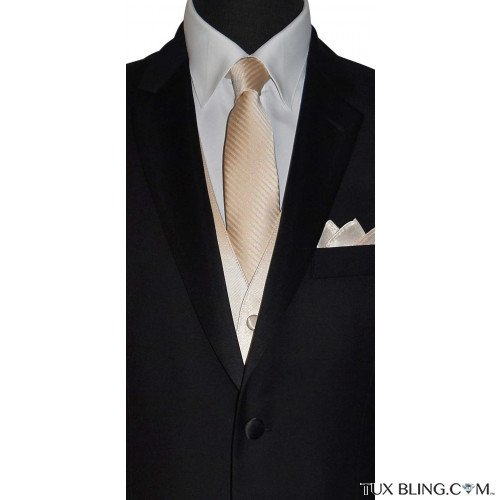 men's champagne color long tie with stripe for weddings