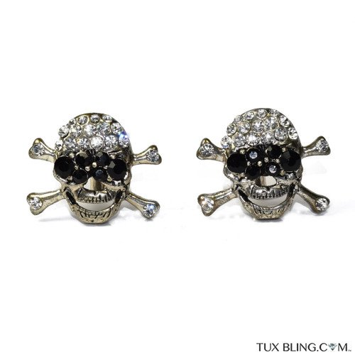 BIG CRYSTAL SKULL AND BONES CUFFLINKS