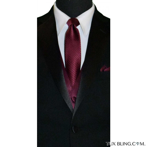 men's wine dress tie and vest to match wine bridal
