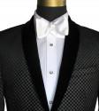 Black Velvet with Silver Geometric Design Shawl Collar Dinner Jacket/Tuxedo- Ensemble