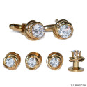 CUFFLINKS AND STUDS CUBIC ZIRCONIA GOLD FINISH