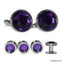 AMETHYST PURPLE CUFFLINKS AND STUDS