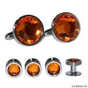TOPAZ ORANGE CUFFLINKS AND STUDS