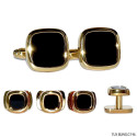 CUFFLINKS AND STUDS SQUARISH-GOLD FINISH