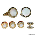 MOTHER OF PEARL CUFFLINKS AND STUD SET-GOLD FINISH