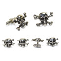 SKULL AND BONES STUDS AND CUFFLINK SET