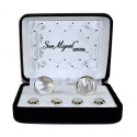 MOTHER OF PEARL CUFFLINKS AND STUDS - SILVER FINISH