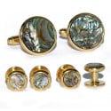 Abalone Cufflinks and Stud Set-GOLD