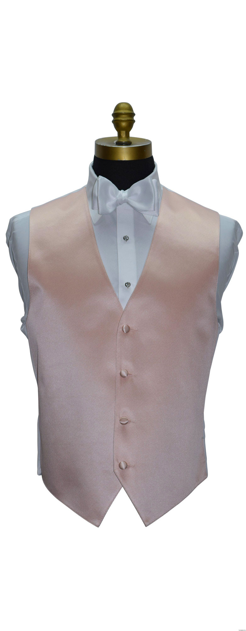 men's and boy's blush vest with white tie-yourself bowtie by San Miguel Formals