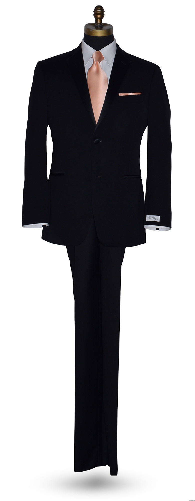 black tuxedo at Tuxbling.com with long peach men's dress tie